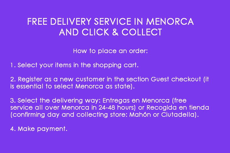 Free Delivery in Menorca or Click & Collect
